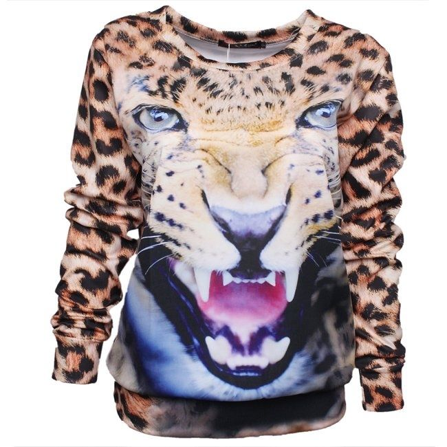 New Lady's Spring Winter Printed Leopard Tiger 3D Cool Sport Hoodie Sweatshirt | eBay