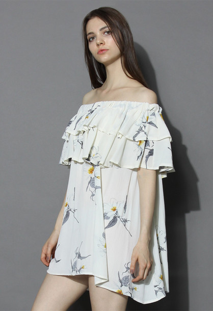 dress chicwish flower sketch off-shoulder dress in white floral dress off the shoulder dress white dress boho dress chicwish.com blue floaty boho dress
