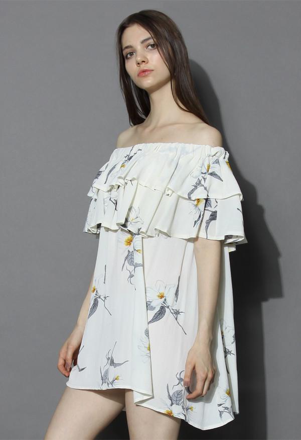 dress chicwish flower sketch off-shoulder dress in white floral dress off the shoulder dress white dress boho dress chicwish.com blue floaty boho dress