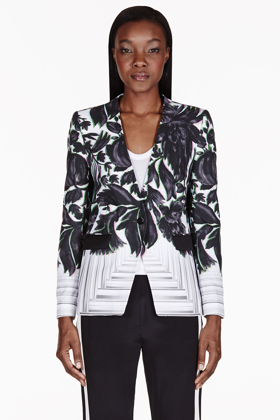 peter pilotto black and white floral jacket