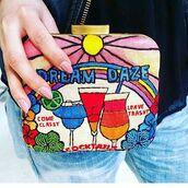 bag,printed bag,embroidered bag,embroidered,clutch,sarah's bag
