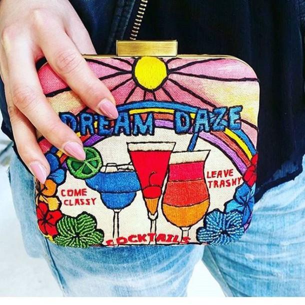 bag printed bag embroidered bag embroidered clutch sarah's bag