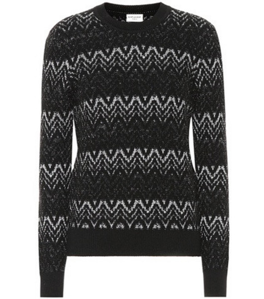 Saint Laurent Zigzag wool-blend sweater in black