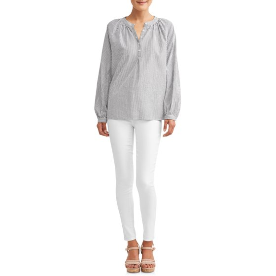 Time and Tru - Women's Seersucker Popover Top - Walmart.com