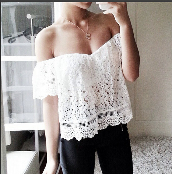 15f8ad28e66 blouse strapless t shirt women top white top top lace top t-shirt off the