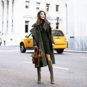 coat,long coat,wool coat,mini dress,wrap dress,slim dress,knee high boots,suede boots