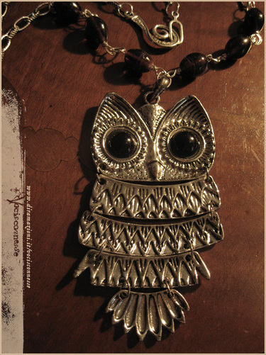 Night owl necklace dark silver tone