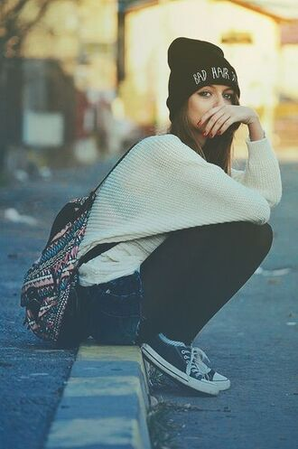 hat beanie cute bad hair day black sweater bag grunge shoes fall outfits back to school badhairday girl vintage hipster backpack blouse fashion style t-shirt white sweater winter outfits home accessory