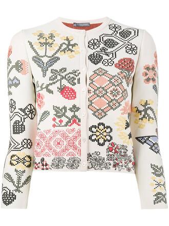 cardigan women floral nude silk sweater