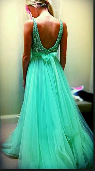dress blue teal bow in back tulle bottom v back 2 straps prom dress pretty