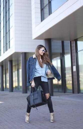 b a r t a b a c blogger denim jacket denim shirt ripped jeans ankle boots celine bag
