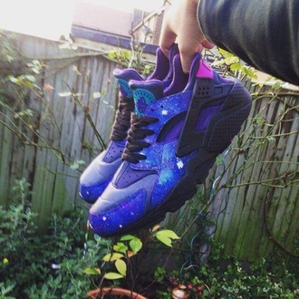 shoes huarache space black purple nike air