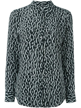 blouse print leopard print grey top