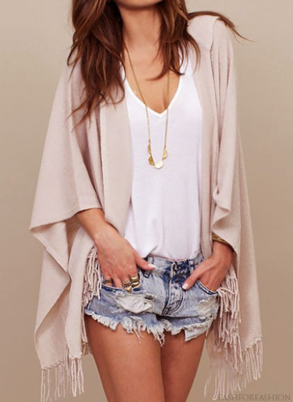 braid shrall sweater shorts jewels fringe blouse