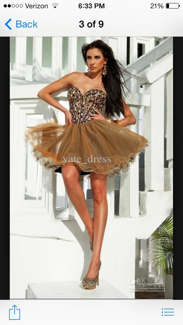 dress prom brown sequin short pretty love sparkly unique sexy