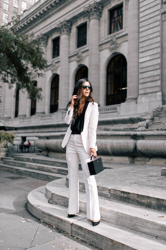 pants tumblr white pants wide-leg pants blazer white blazer top black top sunglasses bag black bag office outfits