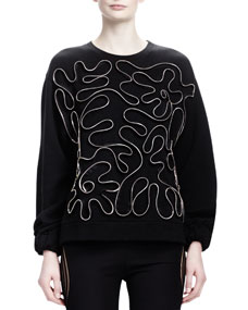 Zipper-Squiggle Sweater, Black