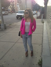 jacket,hot pink,blazer,clothes,outerwear,shoes,jeans