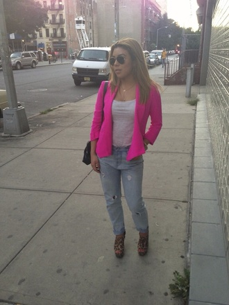 jacket hot pink blazer clothes outerwear shoes jeans