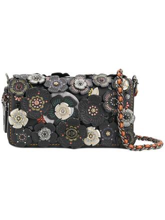 rose women tea bag leather black
