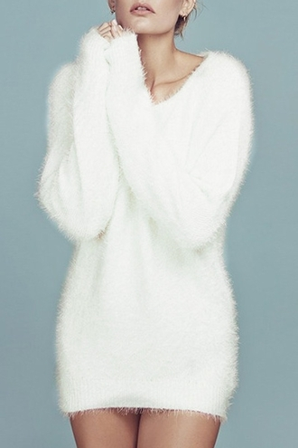 sweater white cute fall outfits winter outfits warm cozy fur long sleeves casual jumper mohair fuzzy sweater