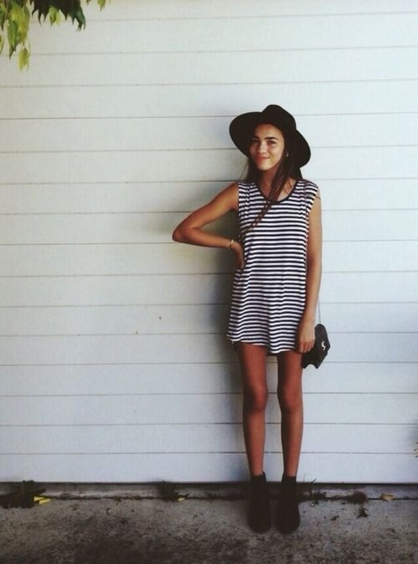 dress hat ah where do i get this? stripes striped dress striped shirt cute dress black white white dress black and white dress tumblr fashion and striped pants t-shirt dress blue stripes blue and white striped black and white fedora ankle boots crossbody bag cute outfits outfitters bag indie t-shirt dress bag summee outfit tumbler mini dress