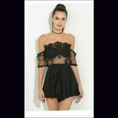 romper,black,little black dress,black playsuit,skort playsuit,gothic dress,pretty