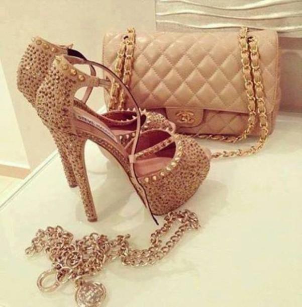 shoes gold high heels glitter spikes