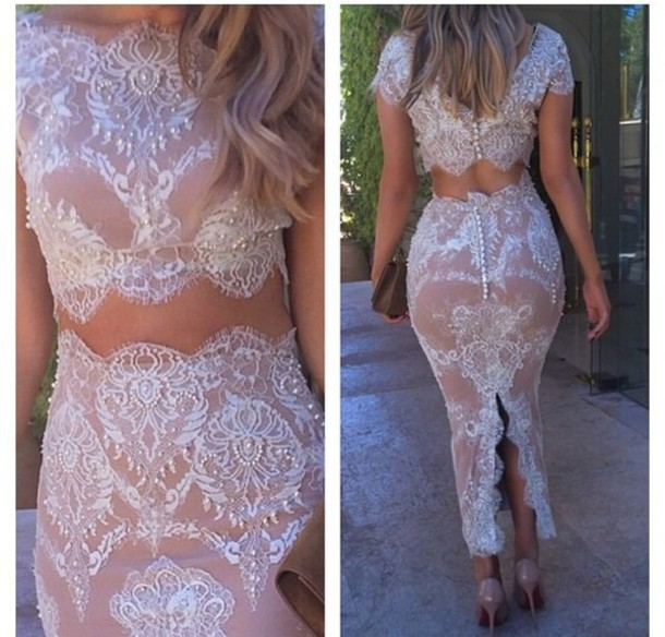 dress lace dress white crop tops white skirt white lace two-piece set
