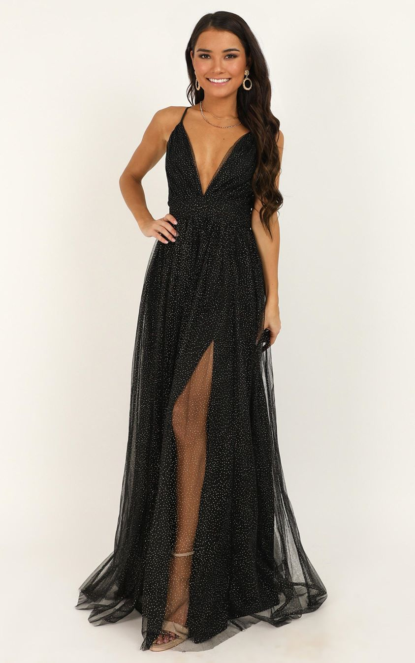 Showpo Tell Me Lies Dress in black spot mesh - 4 (XXS) Dresses