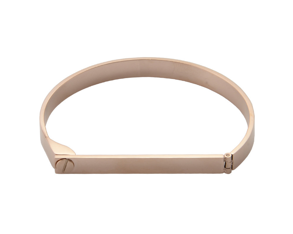Wanderlust   Co - Screw and Bar Rose Gold Bangle