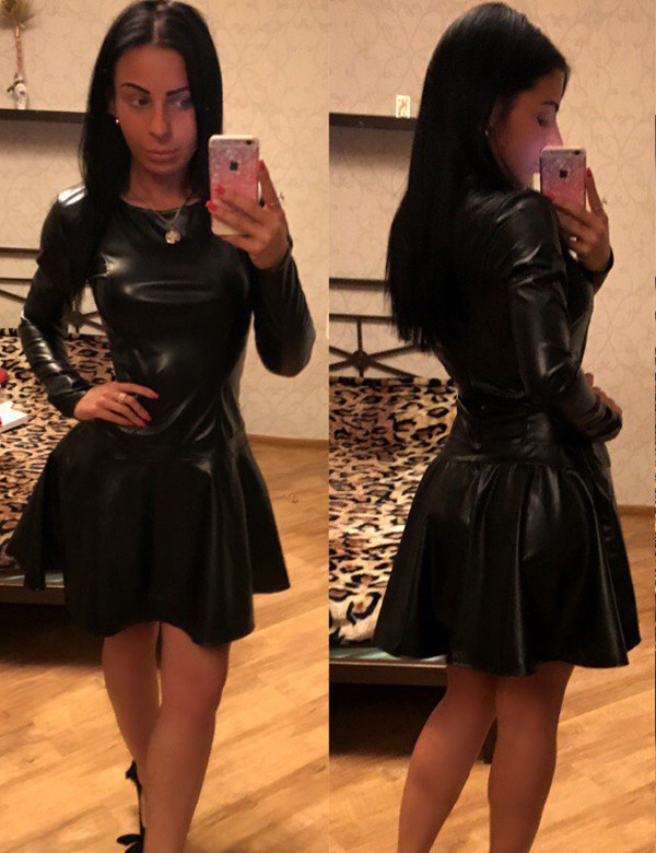 Womens Smart Casual Leather Circle Dress
