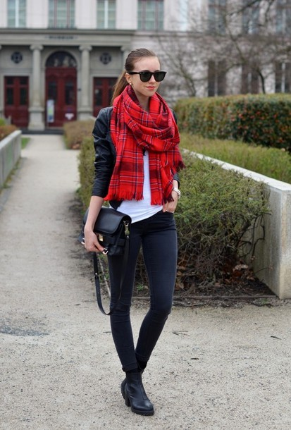 vogue haus t-shirt jeans jacket scarf shoes bag jewels sunglasses