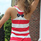 Stripe print racer back bow decor tank top