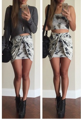 skirt knot top shoes