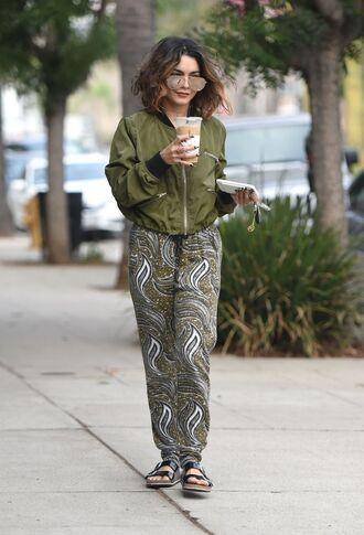 pants vanessa hudgens khaki olive green streetstyle bomber jacket