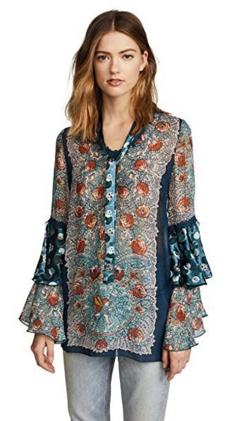 Anna Sui tunic chiffon teal top