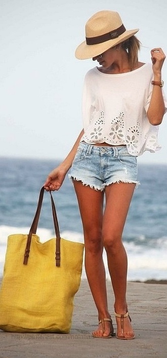 shirt lace cute white blouse shorts bohemian bag straw hat beach cut off shorts cut offs sun hat hat laceshirt shoes cutoff denim shorts t strap sandals summer outfits summer top summer shorts summer shoes top funny stylish fashion white short sleeve loose chiffon blouse delicate chiffon girl girl's love casual jeans