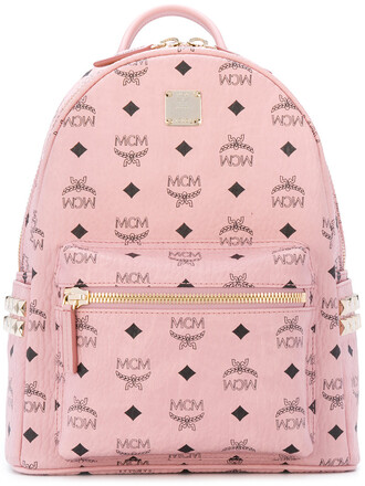 women backpack leather purple pink bag