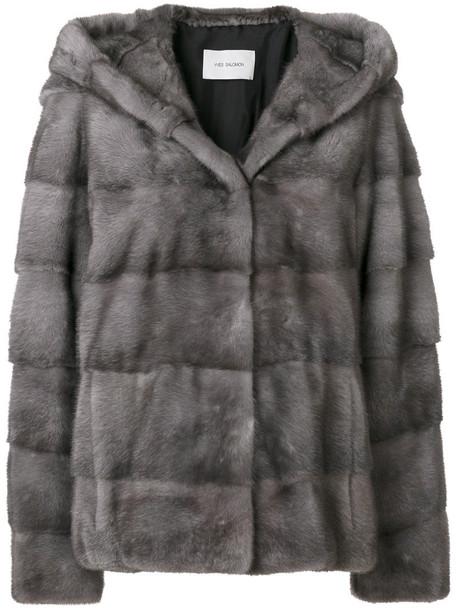 Yves Salomon jacket fur jacket fur women silk grey