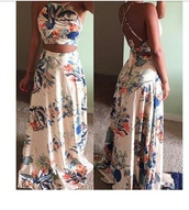 dress,floral,maxi dress,two-piece,dress two piece,crop tops,strappy,floral maxi dress,tropical,two piece dress set,halter crop top,halter top