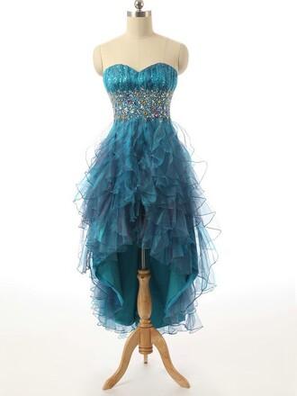 dress prom prom dress midi dress turquoise sparkle
