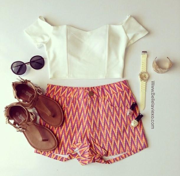 Shirt shorts sunglasses watch sandals shoes nail polish outfit fashion weheartit cute ...