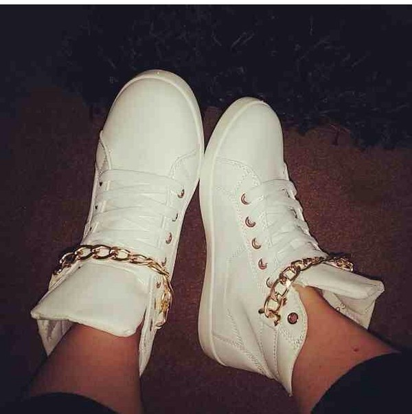 shoes chain high tops sneaks