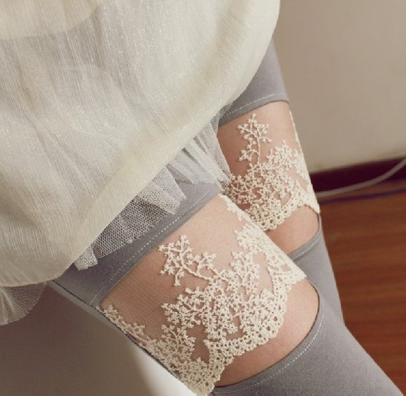legging pants tights lace grey long