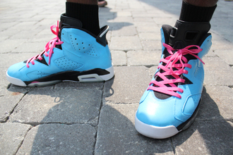 shoes jordan jordan 6 air jordan south beach custom cute pretty dope pink blue black white girl girly sneakers basketball shoe top