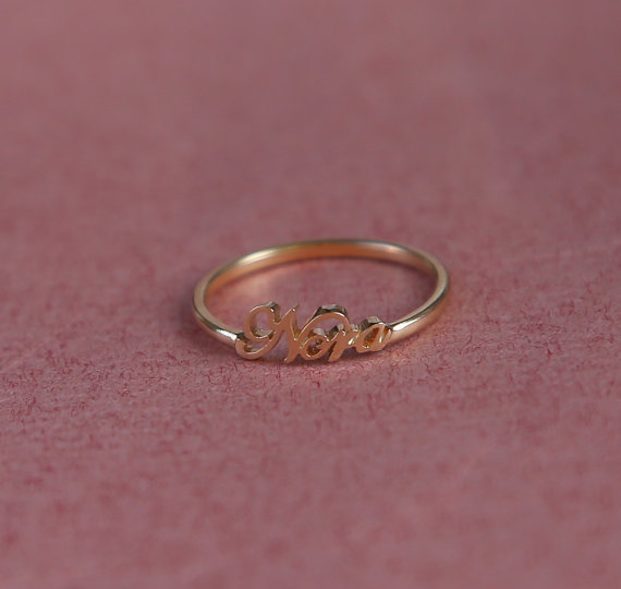 Name Ring  Personalized Gift  Tiny Ring   18K Gold by Bestyle