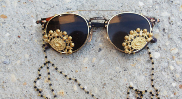 sunglasses gold rims boho beaded black