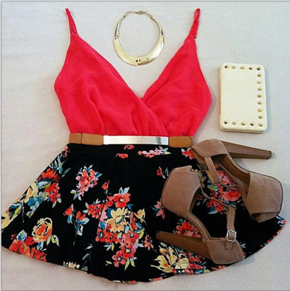shirt red skirt tank top floral skirt floral black skirt tank jewels red shirt blouse fashion red blouse necklace gold floral skirts summer summer outfits ootd where to get this from scarlet black spring pumps clothes crop tops gold belt gold necklace belt shoes dress