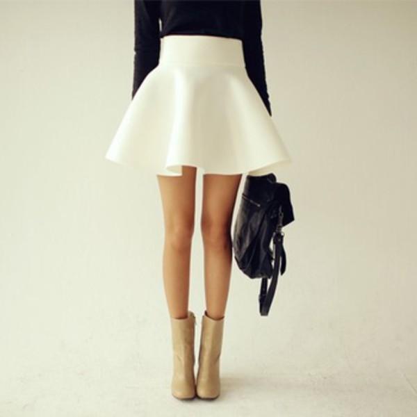 Dress: skirt, high waisted skirt, flared skater skirt, skater ...